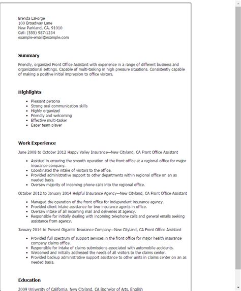 Resume For Front Desk 1 Front Office Assistant Resume Templates Try Them Now