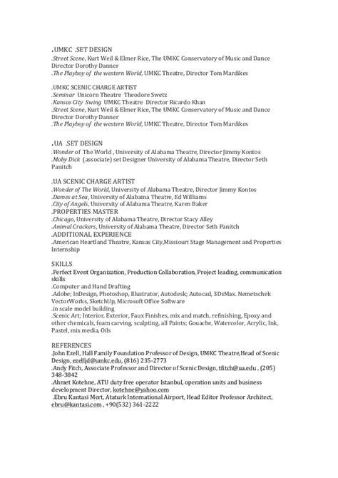 set designer resume