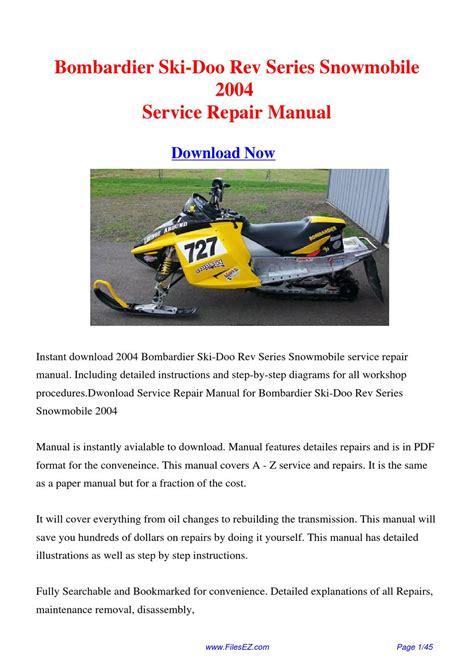 Download Bombardier Ski Doo Rev Series Snowmobile 2004