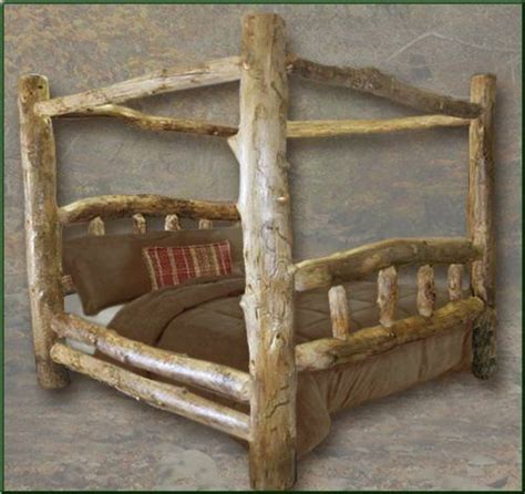 Log King Size Bedroom Sets by King Size Classic Aspen Canopy Log Bed The Timber