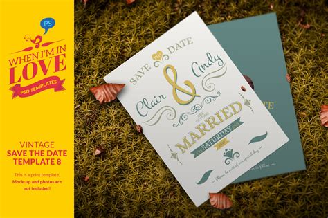 Vintage Save The Date Template 8 Invitation Templates On Creative Market Vintage Save The Date Templates