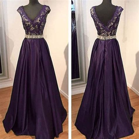 cheap beaded prom dresses 2016 purple evening dresses v neck beaded evening