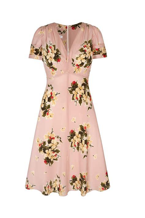Dress I soft pink printed silk tea dress 30s vintage print tea