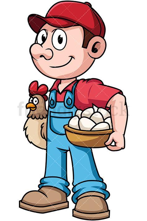 farmer clipart farmer holding hen and eggs vector clipart