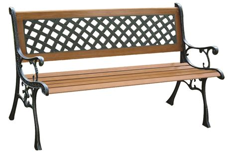 lattice bench 2 person outdoor garden wooden cast iron lattice bench