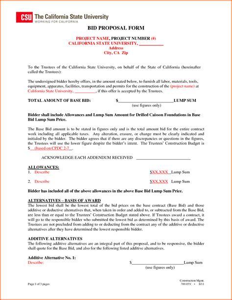 Bid Proposal Template Mughals Bid Template For Construction