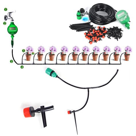 Garden Hose Drip System 25m Diy Micro Drip Irrigation System Auto Timer Self Plant