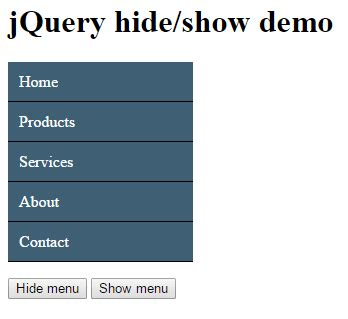 jquery hide div how to use jquery hide show methods with div table