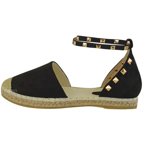 studded flat shoes womens studded espadrilles flats ankle strappy