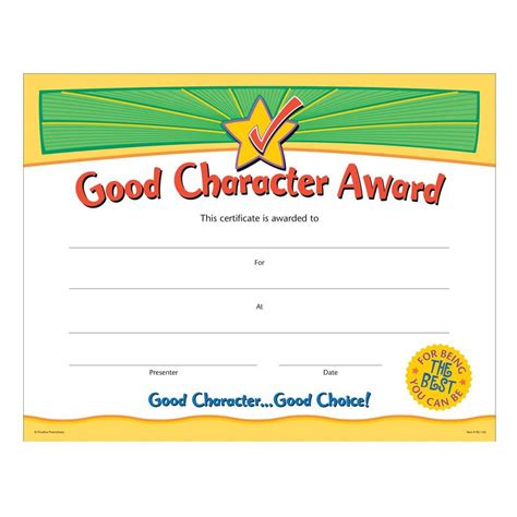 good character award gold foil sted certificates