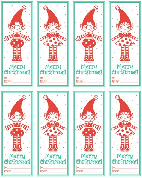 Printable Elf Gift Tags | 25 free christmas tags