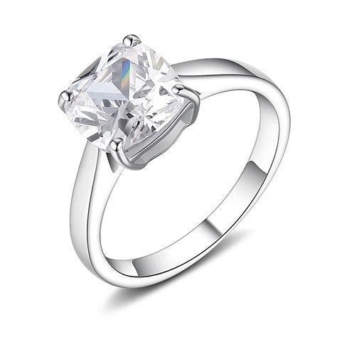 asscher cut gemstone 925 sterling silver promise rings for
