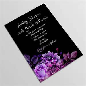 black and purple wedding invitation template by