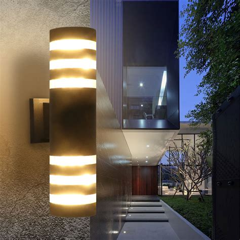 Patio Light Fixtures Outdoor Modern Exterior Led Wall Light Fixtures Porch Patio Hallway L 2 Color Ebay