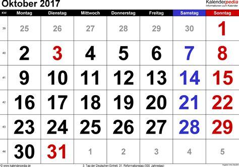 Oktober Kalender 2017 Kalender Oktober 2017 Als Excel Vorlagen