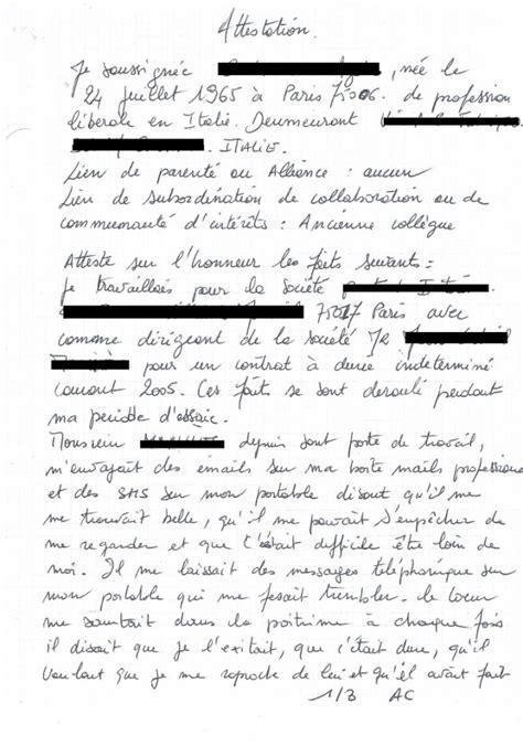 Exemple De Lettre Temoignage Divorce Modele Attestation Juridique Temoignage Document