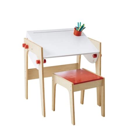 bureau enfant oxybul bureau architecte naturel blanc et tabouret