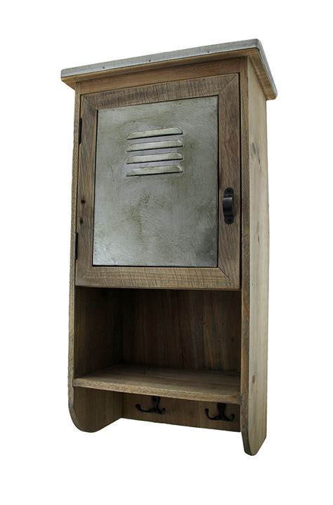 reclaimed wood wall cabinet rustic reclaimed wood wall cabinet w shelf and hooks 20 in