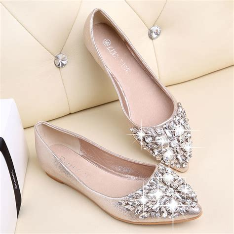 Bootssneakersketsheelswedgesflatsuplier Pp01 Balerina Flat Shoes ballet shoes leisure pointy ballerina rhinestone shiny flats shoes gilrs princess