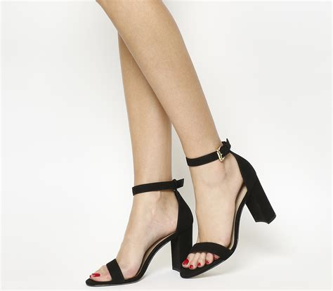 sandal heels garsel e 408 office block heel sandals black nubuck high heels