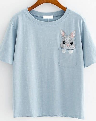 Rabbit Embroidered Shirt rabbit embroidered t shirts for blue
