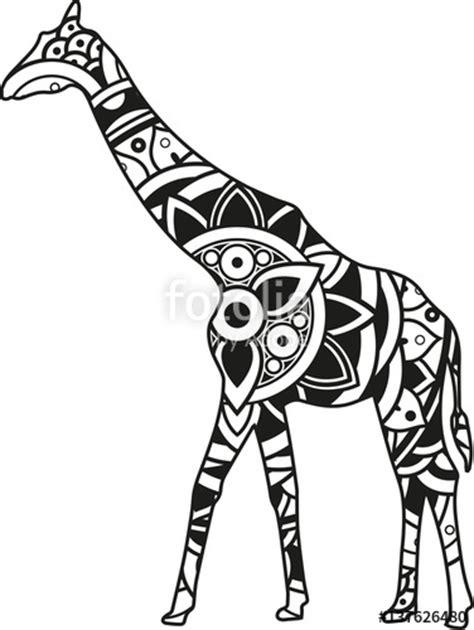 """Vector illustration of a mandala giraffe silhouette"