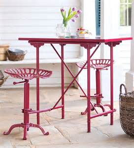 Vintage Bar Table And Stools Vintage Bar Table And Tractor Seat Stool Set Garden Furniture