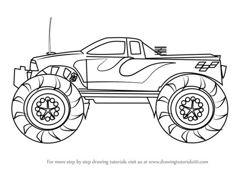 monster trucks drawings learn how to draw a monster truck trucks step by step