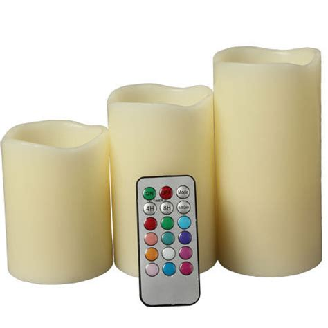 Color Changing Led Candle With Remote Set Of 3 Pcs led color changing flameless pillar candles set of 3