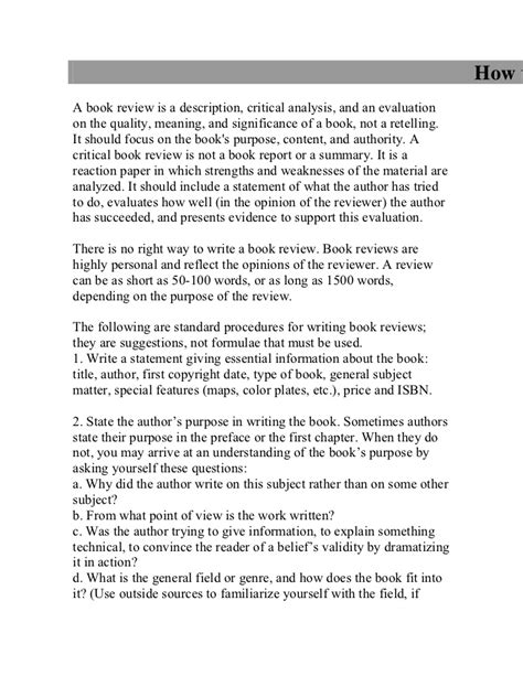 how to write book reports how to write a book review