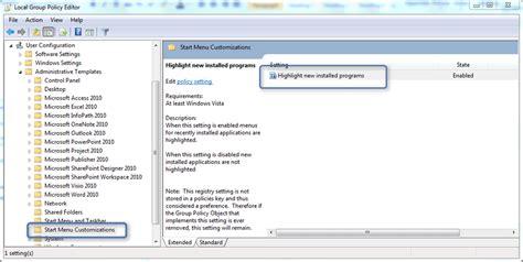 start menu layout gpo not working custom gpo template for start menu highlight newly