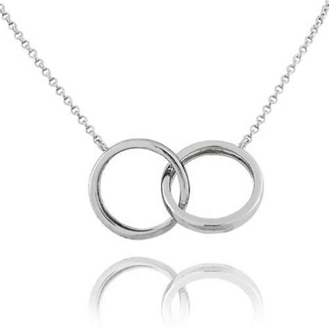 ring bands for jewelry sterling silver interlocking bands chain link necklace 16in