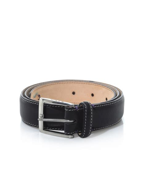 paul smith classic leather pinup print belt in black for