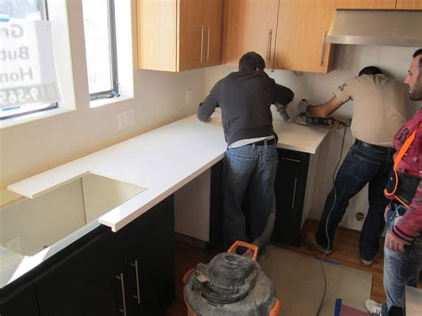 Installing Granite Countertop by Granite Countertops Green Button Homes