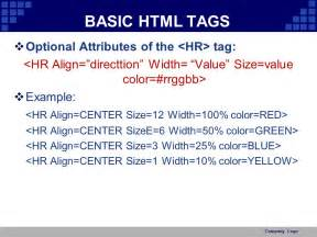 hr tag color html basic ppt