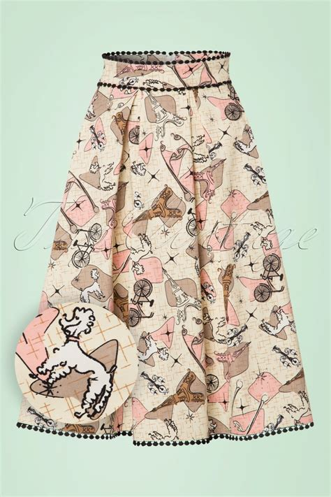 50s swing skirt 50s marienne swing skirt in cream