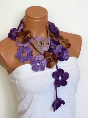 Quella Scarf Shawl galactic filaments purple lilac beaded crochet necklace flowers