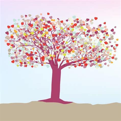 Kostenlose Vorlage Baum Romantische Baum Mit Herzen Vorlage Karte Stock Vektor Colourbox