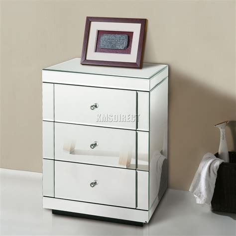 glass bedroom cabinets foxhunter mirrored furniture glass 3 drawer bedside