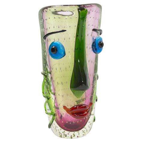 Faces Or Vases by Large Murano Multicolored Abstract Picasso Glass