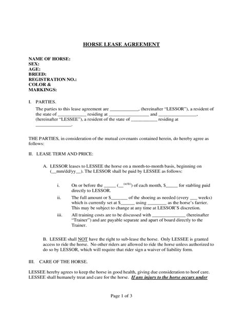 Sample Horse Lease Agreement Template