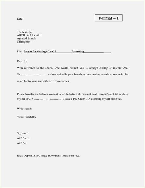 Closure Of Loan Letter Format awesome collection of bank account closing letter format