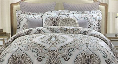 tahari bedding tahari full queen duvet cover set large floral paisley medallion dusty blue grey taupe