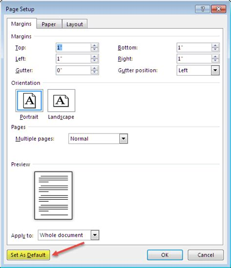 What Are The Default Page Settings For A Word Document