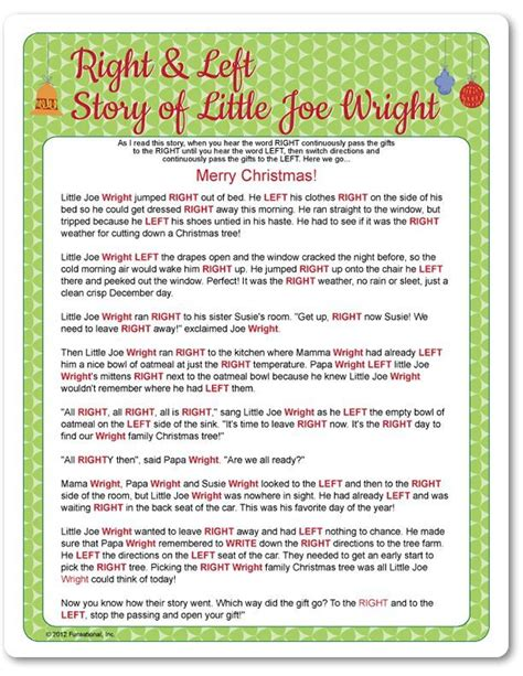 left right across gift exchange story printable right left joe wright funsational holidays