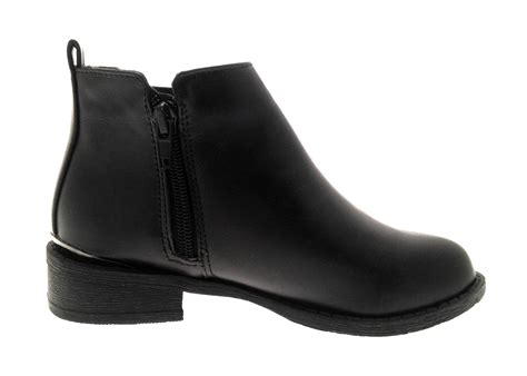 faux leather chelsea ankle boots casual black