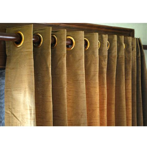 Gold Grommet Curtains Gold Brown Silk Curtain Panels 52x96 Grommet