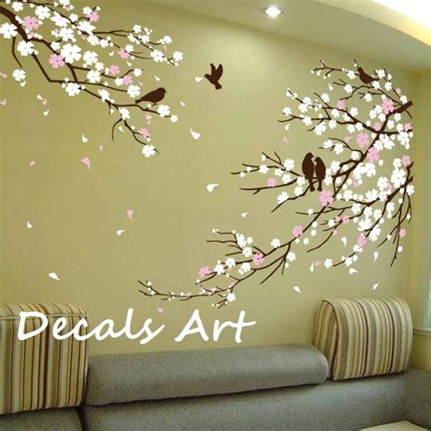 sticker murals for walls cherry blossom branches with birds vinyl wall sticker
