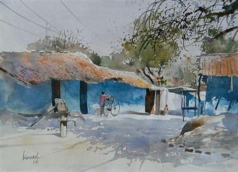 Black Wood Dining Room Table Village Side By Artist Bijay Biswaal Watercolor Paintings
