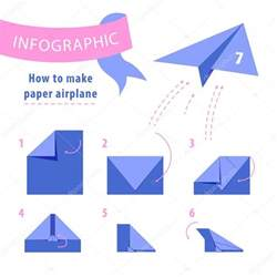 How To Make A Standard Paper Airplane - infographic to make paper airplane blue and